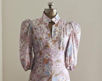 The Kaya Dress | Vintage 1970s Maxi | Kimono Inspired Design