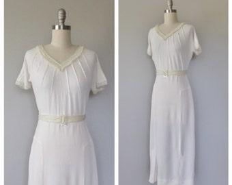 30s wedding dress size small / 30s rayon dress / 30s dresses / vintage wedding dress