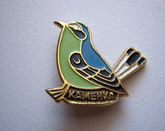 "Small vintage soviet USSR pin badge ""wheatear bird"""