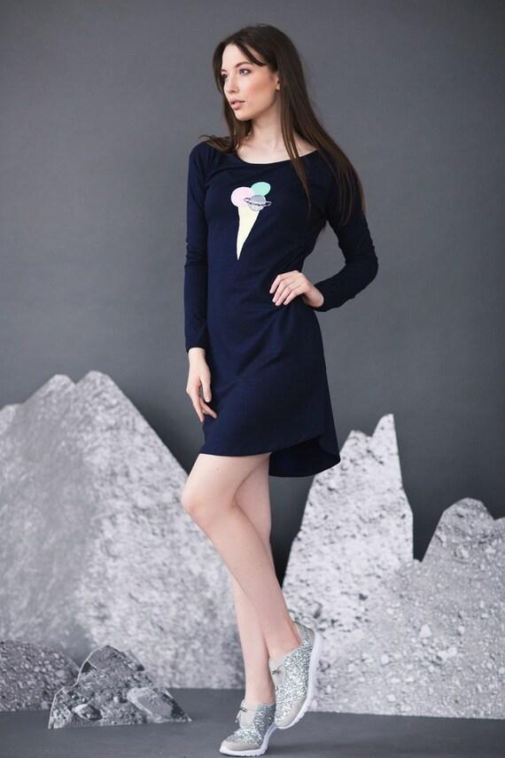 robe-pull, robe de crème glacée, robe tunique, robe bleu marine, Sweat robe, robe en jersey, long pull, robe confortable, robe drôle