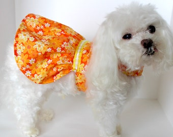 Summer Dog Dress, XS S M L Pretty Orange Yellow Floral Lightweight Dog dresses, designer fashion dog clothes, Ready to Ship