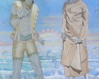 GICLEE PRINT Lord Varuna and Sathya Sai Avatar