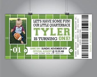 "Football Birthday Invite, Football Game Ticket Invitation, First Birthday Invite with Photo, 7""x3.6"""