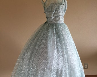 50s Something Blue Lorrie Deb Wedding Tea Length Party Dress