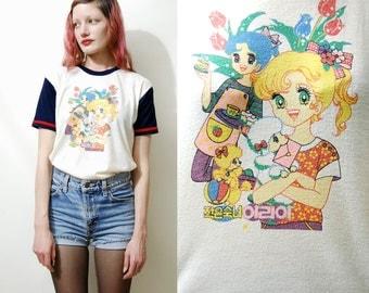 70s 80s Vintage JAPAN ANIME t-shirt Kawaii Girls Poodles Cartoon Graphic Print Pastel Jersey Manga Top Tshirt Retro 1970s 1980s vtg S M L