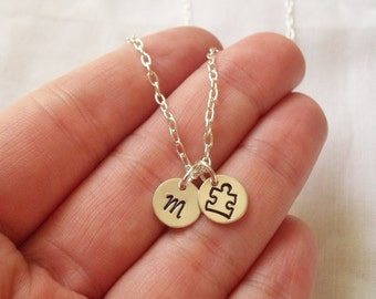 Personalized Autism Puzzle Piece Necklace -- Sterling Silver, Support Autism, Puzzle Piece, Hand Stamped, Initial -- MADE TO ORDER