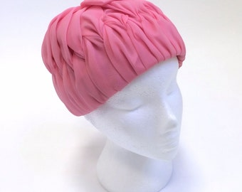 1960's Hat - 60's Hat Women - Pink Pleated Hat - Formal Hat UK