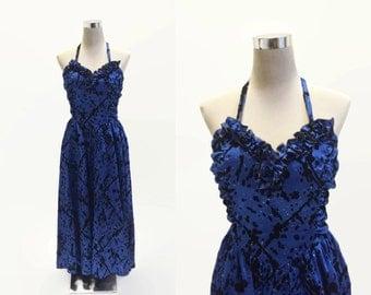 Gina Bacconi Dress - Vintage Party Dress - Evening Dress Prom - Blue Satin Sparkles Dress