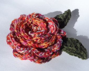 Crochet Rose Flower Brooch Corsage Multicolour Extra Large Oversized