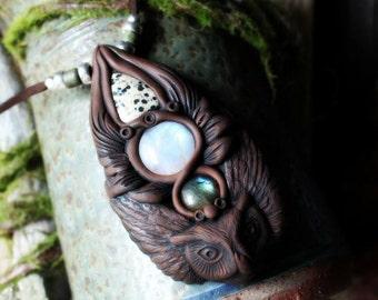Owl Spirit Animal with Labradorite, Moonstone and Dalmation Jasper Necklace. Shamanic Animal Totem Necklace