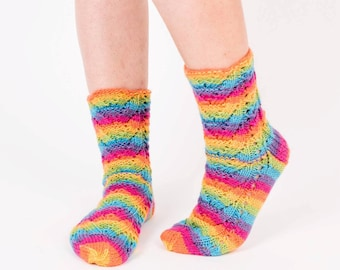 Rainbow colors socks Striped socks Rainbow colors Rainbow socks Knit wool socks Cabled socks Ready to ship