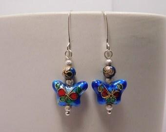 Cobalt Blue & Silver Cloisonne Butterfly Earring Pair