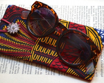 Eyeglasses Case - Wax - Cotton Fabric - Sunglasses Case - Blue Red and Yellow - Unique - Handmade