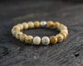 Jasper stone beads stretchy bracelet made to order yoga bracelet, mens bracelet, womens bracelet
