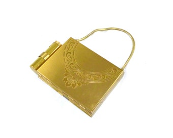 Brass vanity case / novelty formal bag with lipstick holder, powder compartment - organizer in gold / brass with chain, clutch