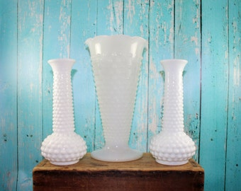 3 Peice Hobnail Vase Collection, Milk Glass, mid Century, White milk Glass, Collectible, wedding, centerpiece, bud vase