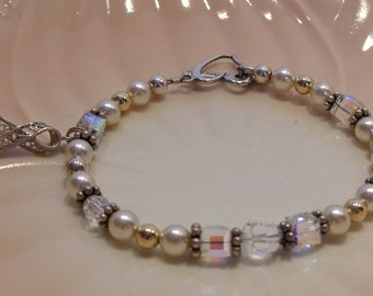 Sterling Silver, Pearl, Gold Bead and Crystal Bracelet with Filigree Ribbon Charm Great Bracelet for a Bride