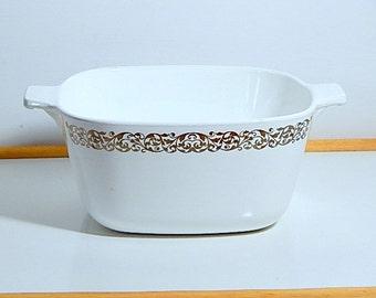 Vintage Corningware Platinum Filigree Casserole Dish.  1960s gift line.
