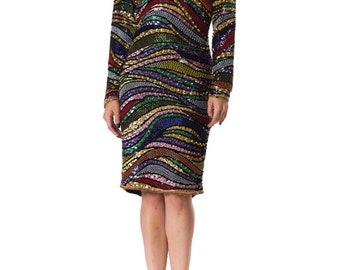 Vintage 1980s Psychedelic Beaded Party Dress  Size: XS/S