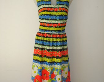 Vintage Flower Stripe Dress - Bright Poppy and Daisy Summer Fashion - Womens Clothing 1960's - The Place
