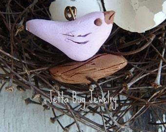 Lavender Petal birds. Pantone cashmere rose. rustic bird bead. tiny birds. realistic birds. woodland nature bead.  Jettabugjewelry