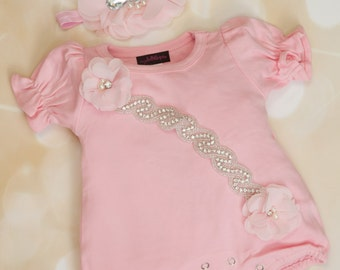 Pink Bubble Romper Infant Layette Cotton Baby Romper with Rhinesones and Chiffon Comes with  Matching Headband