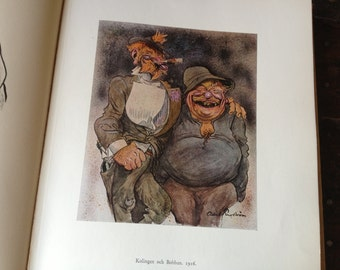 Albert Engström Satirical Illustrations Artwork Book Stockholm Sweden Color Plates