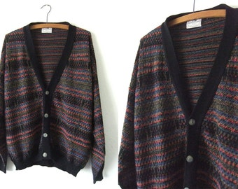 Minimalist Rainbow Knit Cardigan - Vintage Italian Abstract 90s Knit Slouchy fit Cardigan Sweater - Mens Large