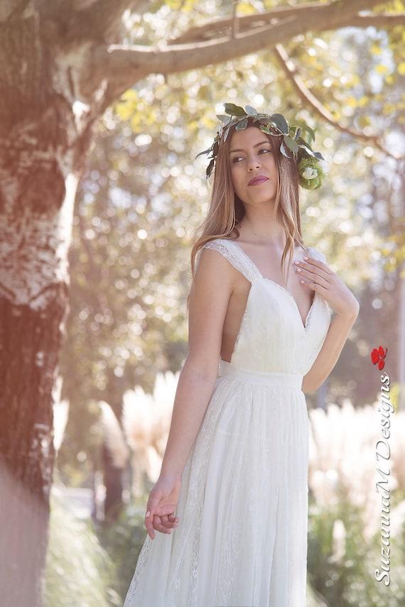 Boho Bridal Dress, SuzannaM, Ivory Lace Dress, Sexy Wedding Dress, Bridal Dress, Open Back, Lace Wedding Dress, Long Wedding Dress, Renee