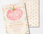 OUR little PUMPKIN is ONE fall girl 1st first birthday invitation rustic pink and gold party glitter confetti hayride pumpkin patch