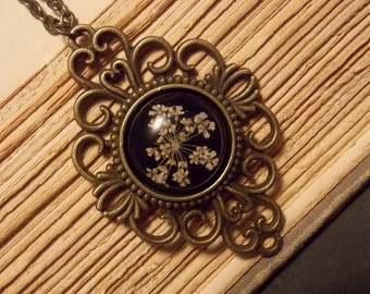 Black and Bronze Dried Flower Pendant