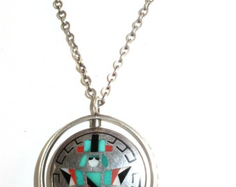 Zuni Native American Sterling Turquoise Coral Spinner Necklace Signed P. Natachu