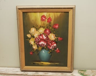 Mid Century Floral Oil Painting Gold Frame Roses