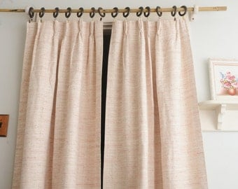 PAIR Sears Roebuck Pink Tweed Curtain Panels