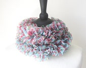 Floral ruffle scarf, blue pink scarf, Spring accessories, lightweight scarf, floral sashay scarf, Winter accessories, Winter scarf,