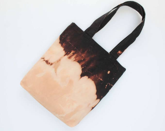 Bleached cotton tote bag. Fabric shopping bag. Large shoulder bag. Canvas tote bag. Bridesmaid gift. Hand colored. Black bag./SIMPLE TOTE 15