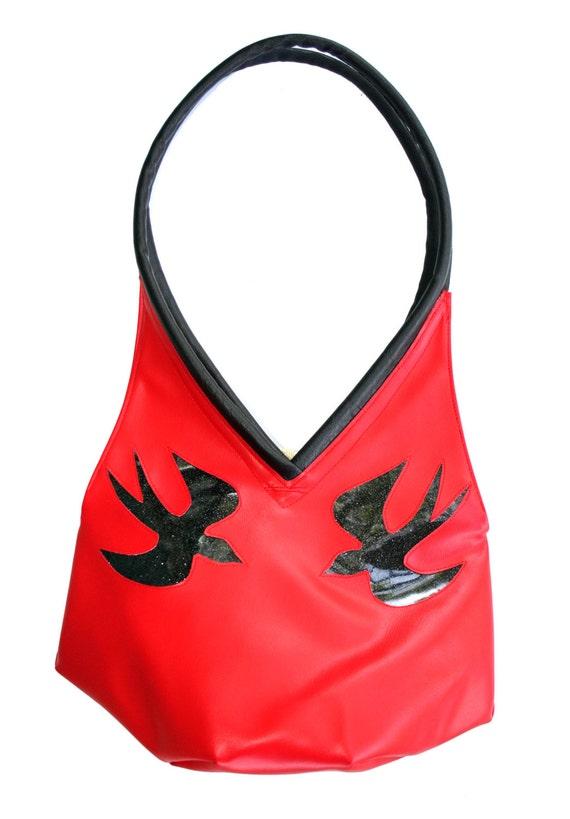 red, black sparrows, tear drop, vegan leather, shoulder bag