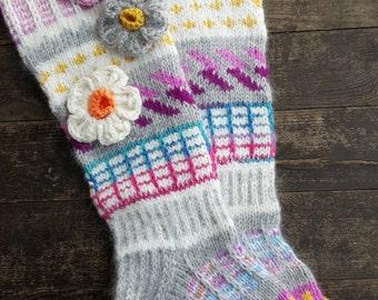 Hand Knit Colorful Socks-Womens Socks-Long Socks-Size US W7-W 10 / EU 38 -40