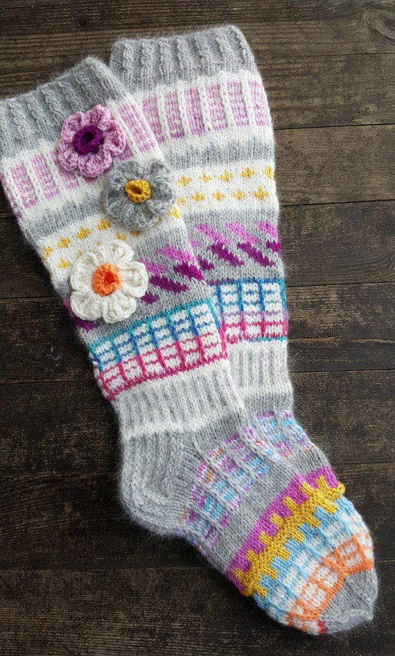 Hand Knit Colorful Socks-Womens Socks-Long Socks-Size US W7-W