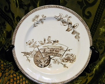 "Brown & White Aesthetic Transferware Plate~ 8.5"" Wileman ""Seasons"" Spring~English Staffordshire~ Mules Plow Birds Nest Cherry Blossoms"
