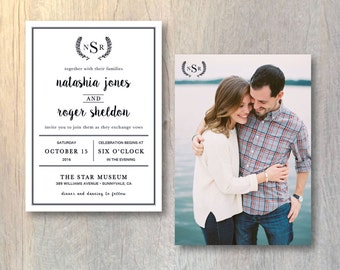 Modern Wedding Invitation Card - Photo Wedding Invitation - Modern Monogram Invitation - Printable DIY