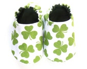 St. Patrick's Day Baby Boy Shoes, 0-6 mos. Baby Booties, Boy Soft Sole Shoes, Crib Shoes, Green Clovers, Baby Boy Saint Patrick's Day Gift