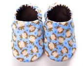 Monkey Baby Boy Shoes, 0-6 mos.Baby Booties, Baby Soft Shoes, Baby Boy Gift, Slip-On Baby Shoes