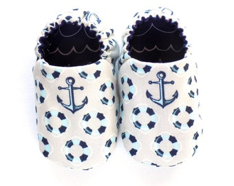 Nautical Baby Boy Shoes with Anchors, 0-6 mos. Nautical Baby Booties, Soft Sole Shoes, Crib Shoes with Anchors, Baby Boy Nautical Gift