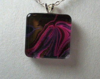 Painted Glass Tile Necklace