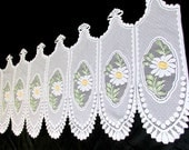"Vintage White Daisy Lace Embroidered Lace Valance Curtain  24""  x 62"" w"