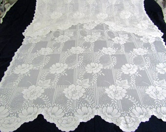 SALE Three Vintage White Lace Curtain Panels With Attached Valance