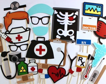 Doctor Nurse Photobooth Props - 34 Pc Medical Photo Booth Set - Features Dry Erase Clipboard and Name Tags