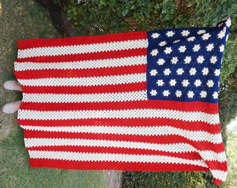 American Flag Blanket Crochet American Flag Throw, Knit Red White and Blue USA Throw Blanket, Festival