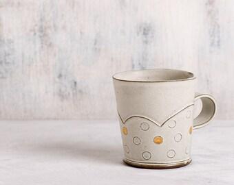 Ceramic mug, Polka dot white mug, White Ceramic Cup, Coffee Mug with golden dots, Modern ceramic cup, Unique coffee mug, Valentine day gift